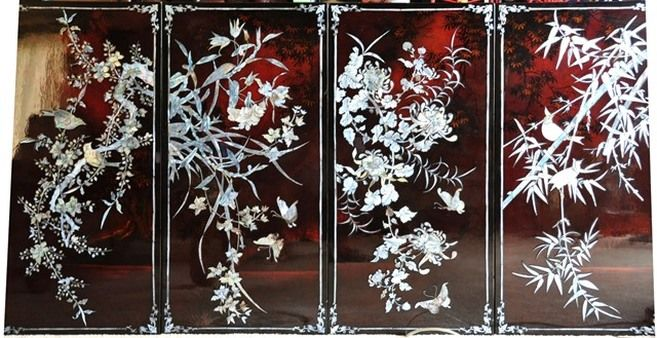 Four Seasons Vietnamese mother of pearl lacquer painting