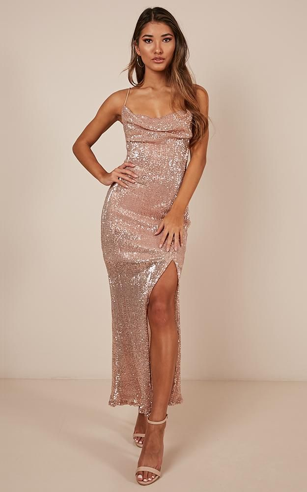 429edb02db51 Stop And Stare Dress In Gold Sequin