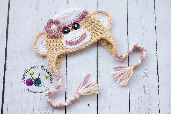 Crochet de nouveau-né à chapeau enfant tailles girl Sock Monkey chapeau photographie prop pour bébé fille chapeau photo prop crochet bébé sur Etsy, 18,53€