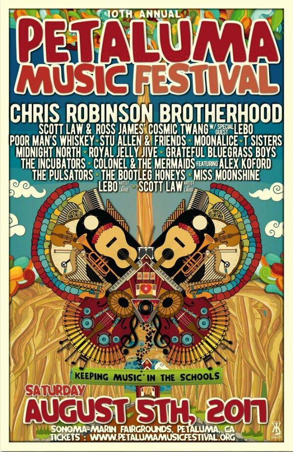 Announcing the 2017 lineup for  The 10th Annual Petaluma Music Festival!  Chris Robinson Brotherhood Scott Law & Ross James Cosmic Twang Lebo and more! Saturday August 5th at the Sonoma-Marin Fair Grounds
