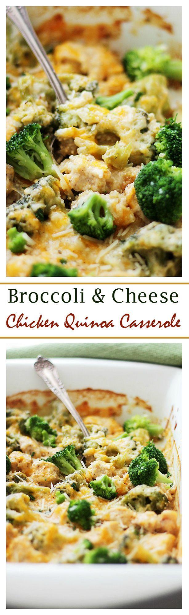Broccoli and Cheese Chicken Quinoa Casserole | www.diethood.com |  Light and creamy casserole filled with broccoli, chicken, quinoa and cheese! This will rock your taste buds!