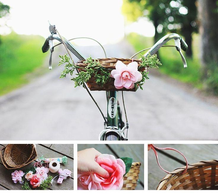 DIY Bike Basket with Flowers - 15 Chic DIY Ideas to Update Your Bike | GleamItUp