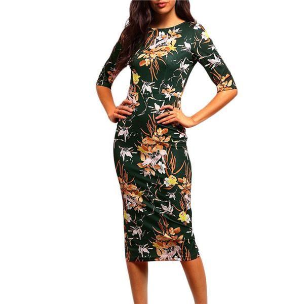 bodycon floral pencil dress, vintage green flower print midi dress - Lyfie