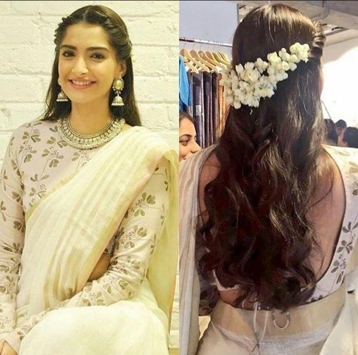 Beautiful, modem way of putting jasmine flowers in hair