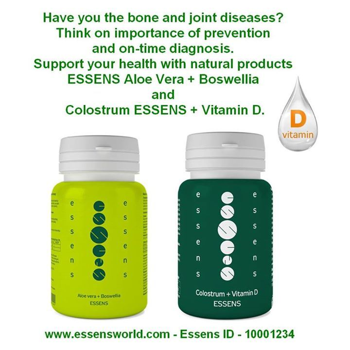 Have you the bone and joint diseases? Think on importance of prevention and on-time diagnosis. Support your health with natural products Essens Aloe Vera  Boswellia and Colostrum Essens  Vitamin D. - Join us for free - www.essensworld.com - ID 10001234 #aloevera #essensstyle #essens #colostrum #imunity #immunesystem #essenseurope #essensworld #essensczech #essensclub #preventbone #preventionofarthritis #boswellia #vitaminD #health #healthy #business ##rheumatoidarthritis #elixir #networking…