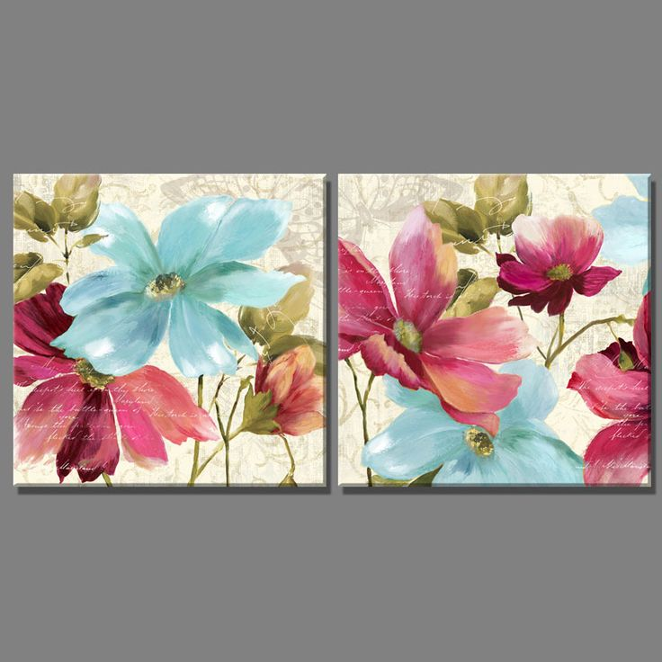 2 Piece Purple blue flowers and Butterfly oil painting Vintage Home Decor canvas art on the Wall Paintings for living room