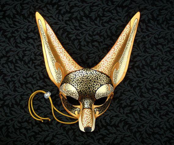 Venetian Fennec Fox Mask handmade leather fennec mask by Merimask