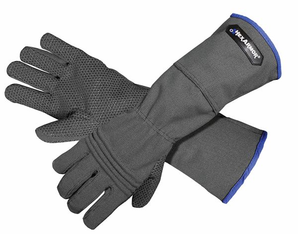 Animal Glove - Good for handling animals where claws, teeth, or sharp spine protection is required. They have a precurved design and mesh liner to provide additional comfort. In addition to puncture resistance, the cut resistance offered is very high - ISEA Level 5. Includes full protection for the entire hand and forearm, including coverage in the palm, back of hand, and thumb, 8 inch extended cuff for additional arm protection, and specialized gripping surface on palm for enhanced grip.