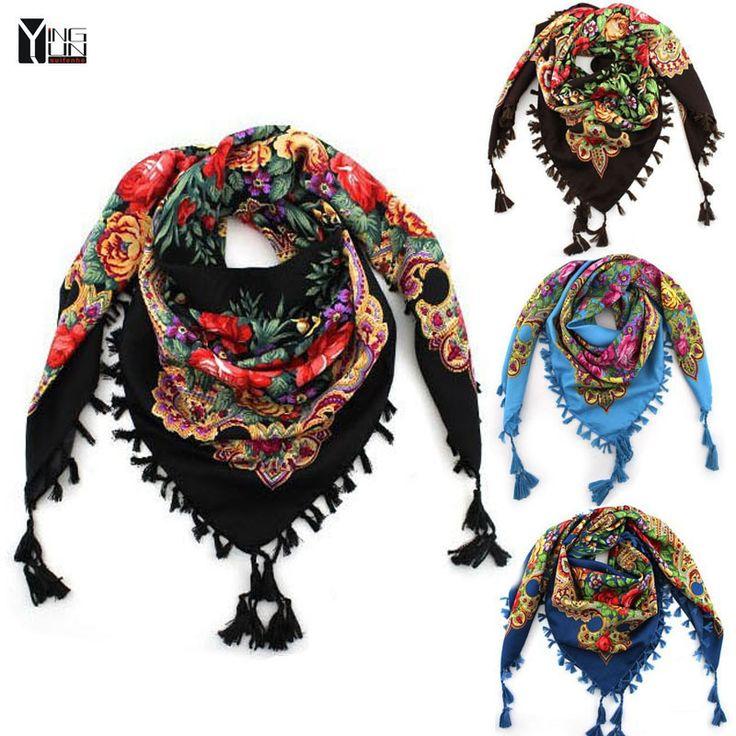 2016 квадратный платок по новому модному фасону женский напечатанный хлопчатобумажный шарф в зимнем сезоне шаль по горячему бренду купить на AliExpress