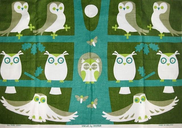 Irish Linen Tea Towel by Ulster #Owls #60s