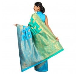 Zari work tusser silk saree in Sea green and blue