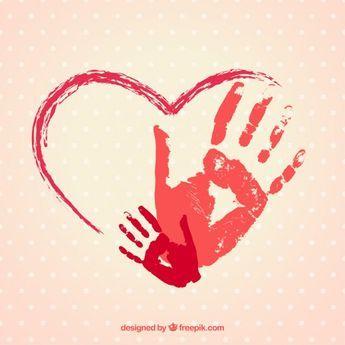 Hand gemalte Herz mit Handabdrücke