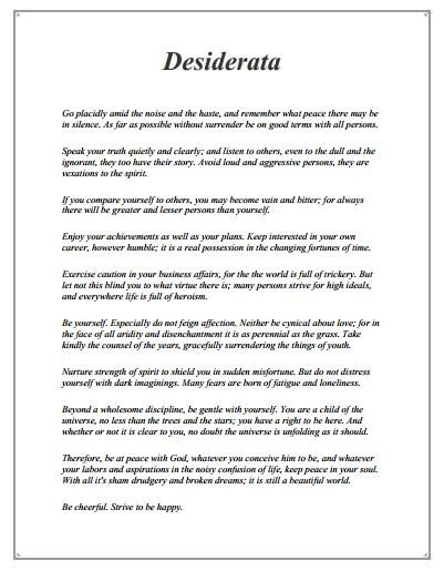 desiderata go placidly amid the noise and the haste and remember what peace there may be in silence