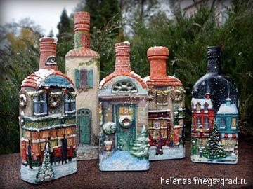 Рождественские домики Бутылки-светильники - Авторская работа, авторский светильник/лампа для интерьера. МегаГрад - портал авторской ручной работы