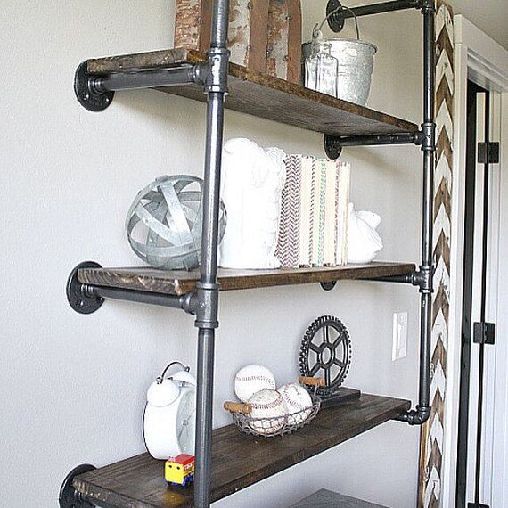 Reclaimed wood industrial shelving by MepCustom on Etsy
