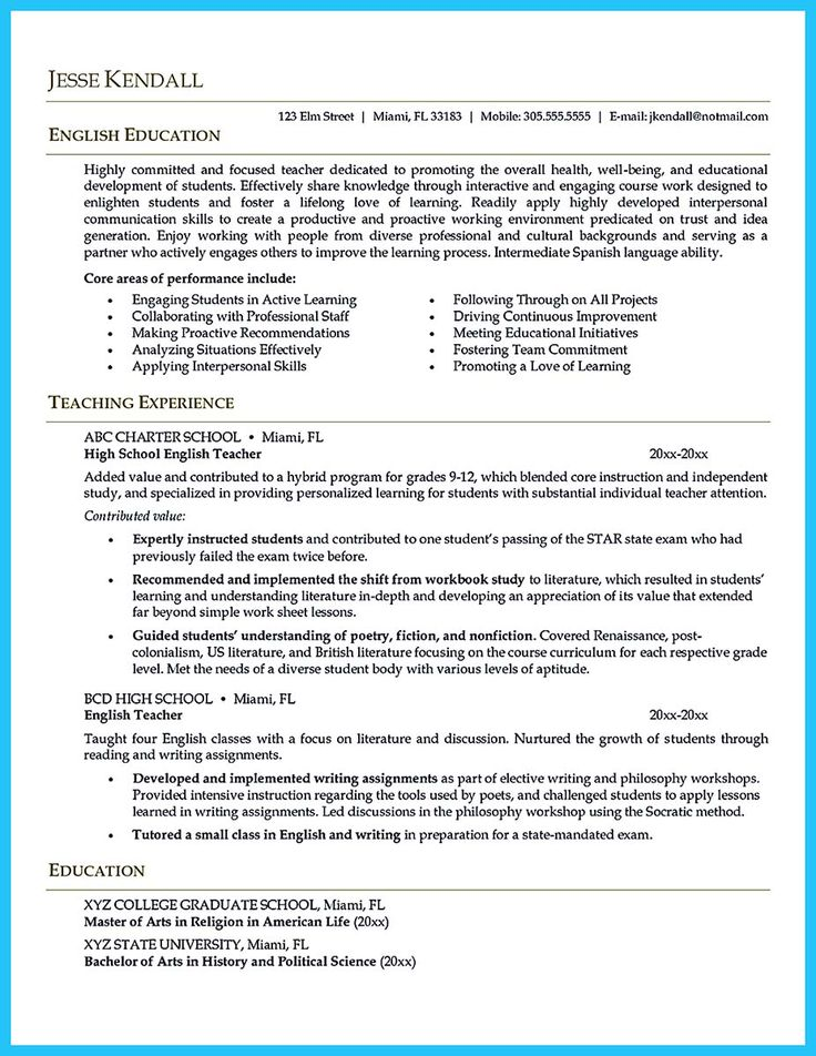 There are several parts of assistant teacher resume to
