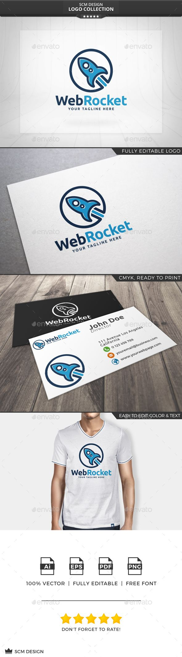 Web Rocket Logo — Vector EPS #blue #identity • Available here → https://graphicriver.net/item/web-rocket-logo/13454544?ref=pxcr