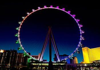 High Roller ferris wheel at night 550 feet tall ($21.95 day, $36.95 night, under 12 free) incl in costco pass
