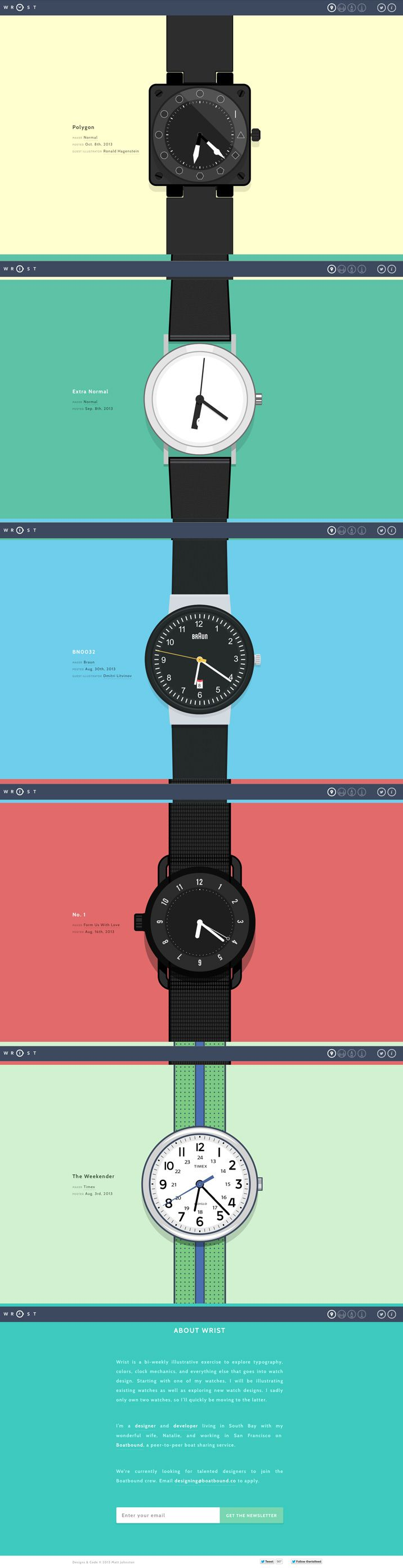 Winner 8 October 2013 Wrist by Matt Johnston http://www.cssdesignawards.com/css-web-design-award-winner.php?id=23245 A bi-weekly illustrative exercise in making new and old watches come to life. #WebAward #Colorful #FlatDesign #Scroll