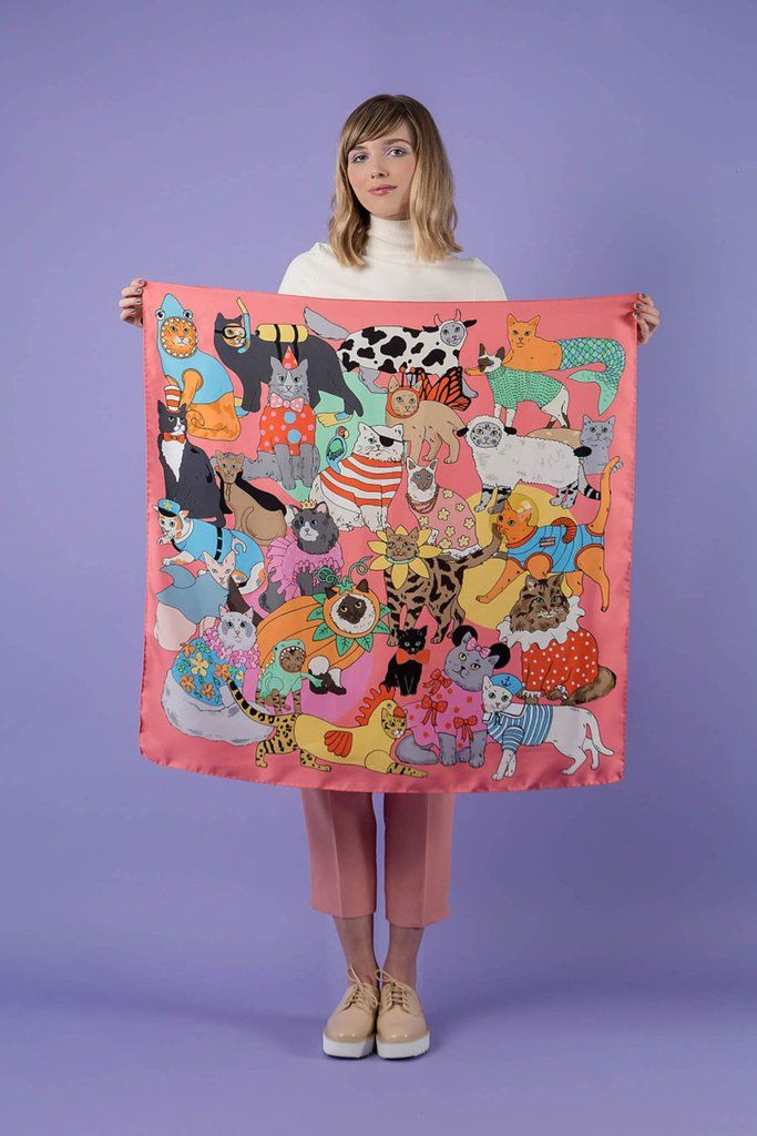 FANCY DRESS CATS SILK SCARF