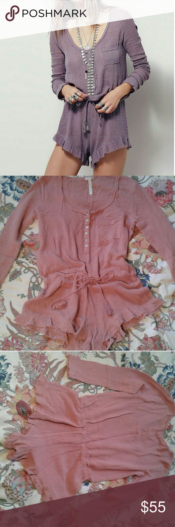 Flash Sale! Free People Endless Summer Rose Romper Free People Intimately Endless Summer Rose color romper. Stock pics are of the lavender version. Mine is the vintage rose color.  Raw edges and shell buttons, with adorable tassel rope waist ties and ruffle legs are just darling! Made of a wonderful airy gauze, reminiscent of cheese cloth almost. Divine for warm summer nights,  or days on the beach! Reluctantly parting with because I really need a small. Great condition,  intentionally…