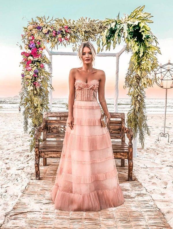 vestido longo rose madrinha de casamento na praia in 2019 | Dresses, Strapless dress formal, Fashion