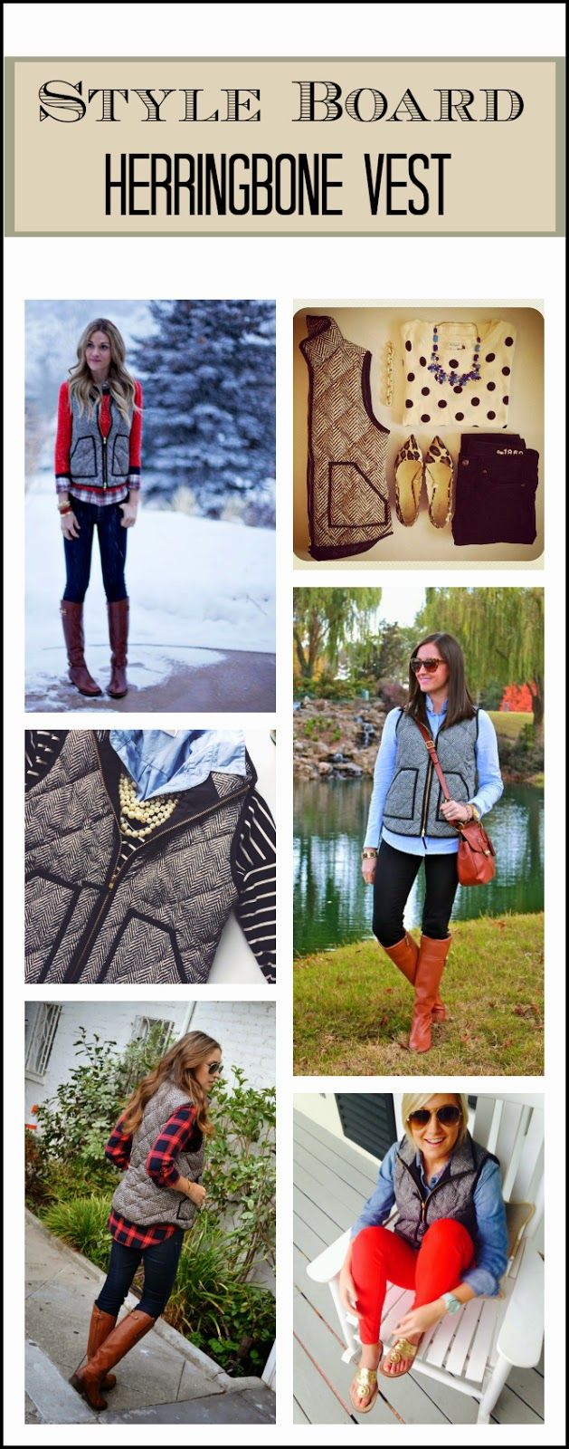 I bought this herringbone vest recently... Love these looks to go with it!