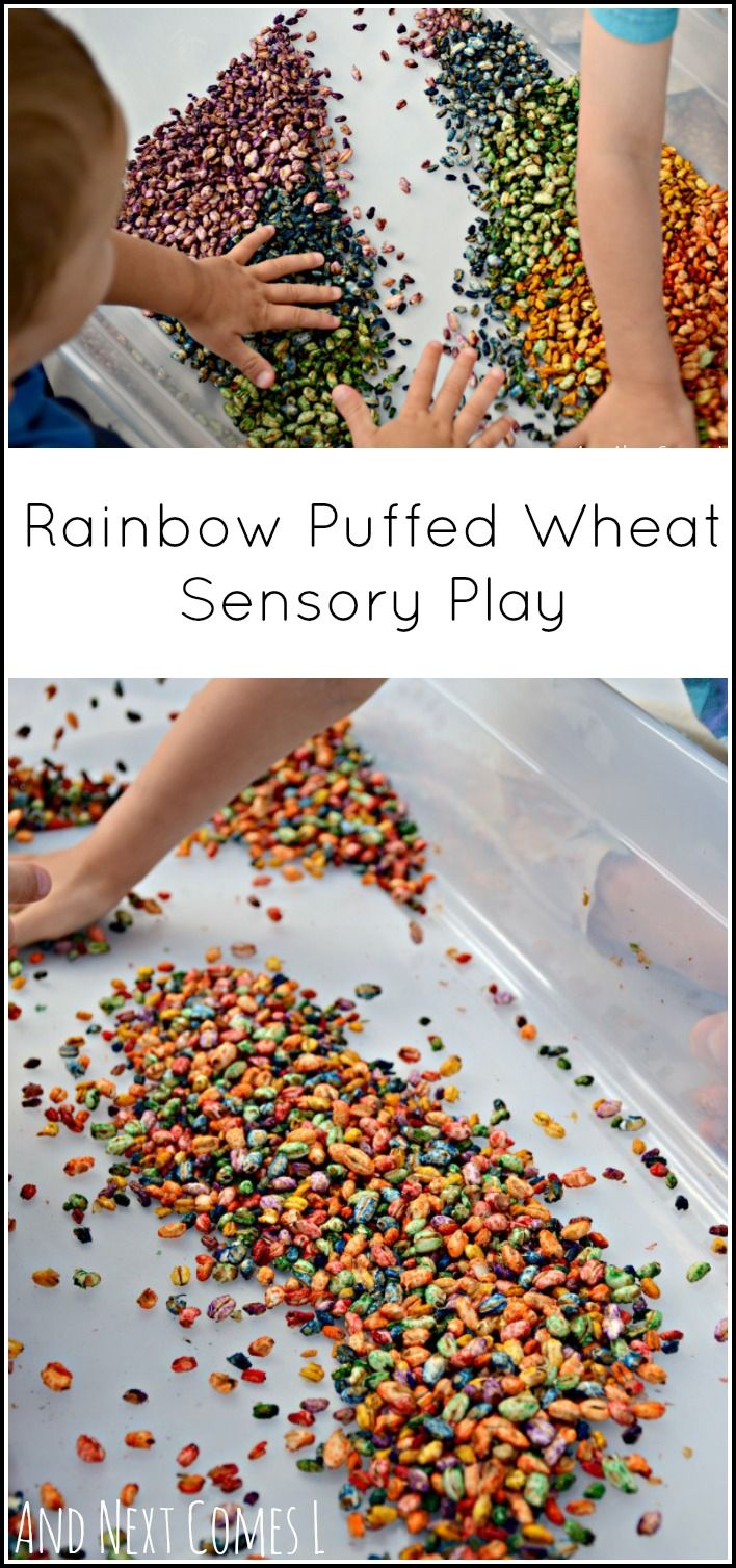 Rainbow puffed wheat: how to dye puffed wheat cereal for sensory play from And Next Comes L