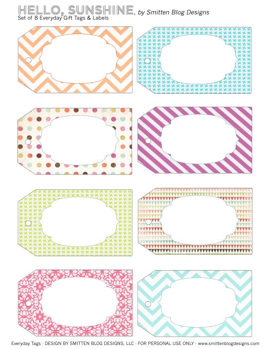 Free hello sunshine gift tags