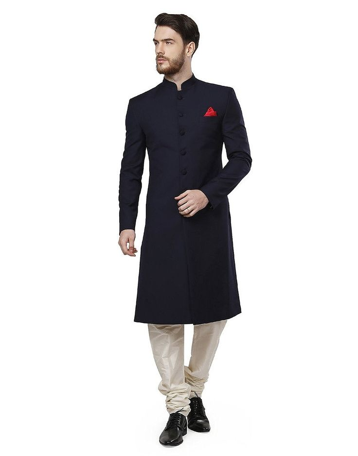 Royal NavyBlue Solid Mandarin Sherwani For Men #Sherwani More