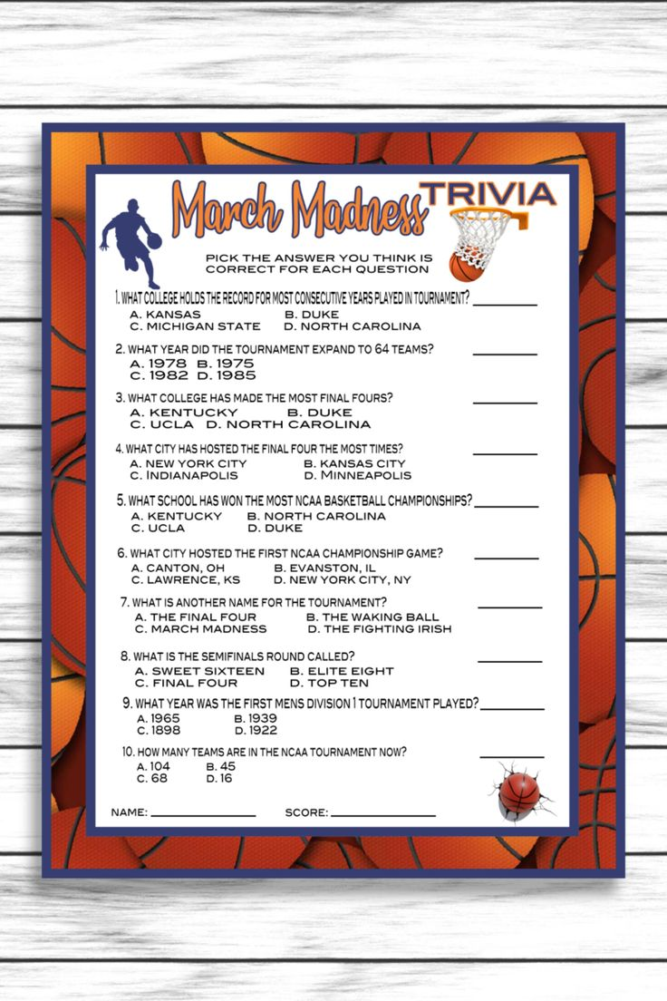 March Madness Party Trivia Game, Basketball Trivia, NCAA
