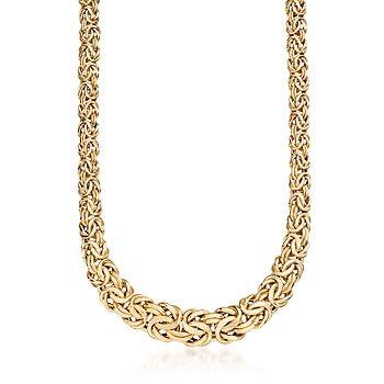 Italian 14kt Yellow Gold Graduated Byzantine Necklace
