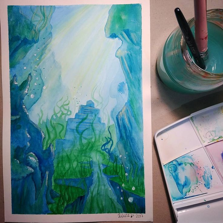 #placemarch 5: Undersea. This week I will try to catch up the challenge drawings I have missing: cemetery and native flora. So I'm going to need encouragement. GO!! GO!! #watercolor #undersea #placemarch2017 #background #underwater #sea #seascape #water #blue #green #illustration #art #illustrationoninstagram #artistsoninstagram #acuarela #agua #submarino #paisaje #azul #verde #ilustracion #arte #artistas #artistaseninstagram