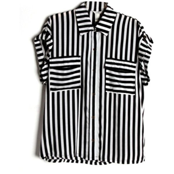 Chicnova Fashion Black White Stripe Contrast Color Short Sleeves... ($25) ❤ liked on Polyvore featuring tops, blouses, shirts, chicnova, black short sleeve shirt, black shirt, black white stripe top, black blouse and shirts & blouses