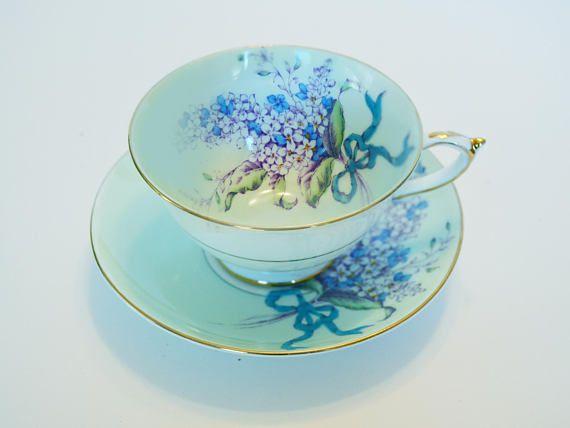 Paragon Blue Lilac Double Warrant Teacup and Saucer  Rare