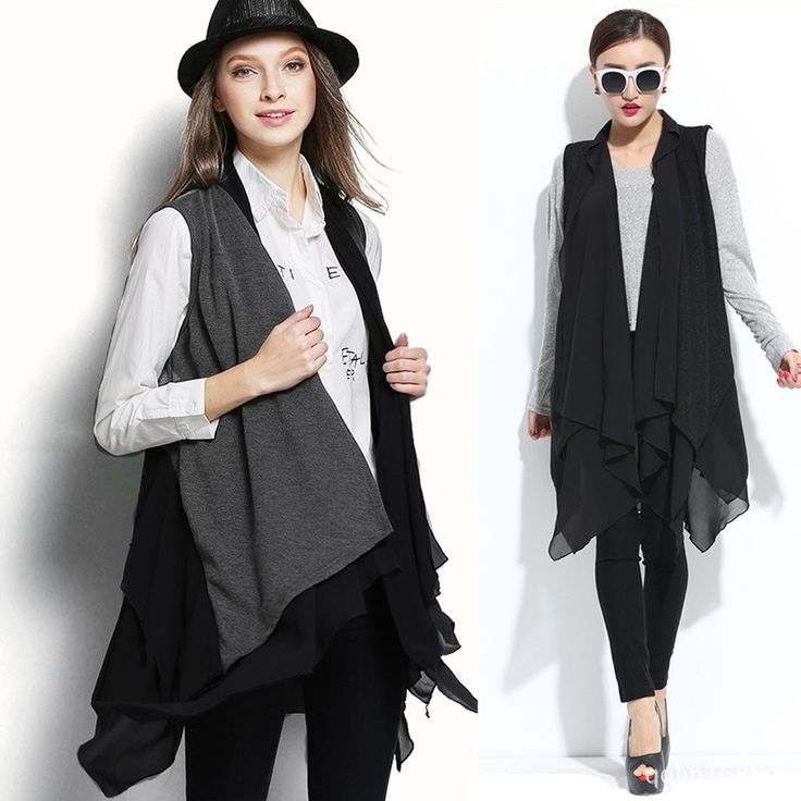 Cheap coat jacket, Buy Quality coated paperboard directly from China coat jacket men Suppliers: Plus Size European Fashion Trend Chiffon Patchwork Knit Casual Long Ruffle Irregular Vest Women Ladies Big Jacket Cardigans Coat