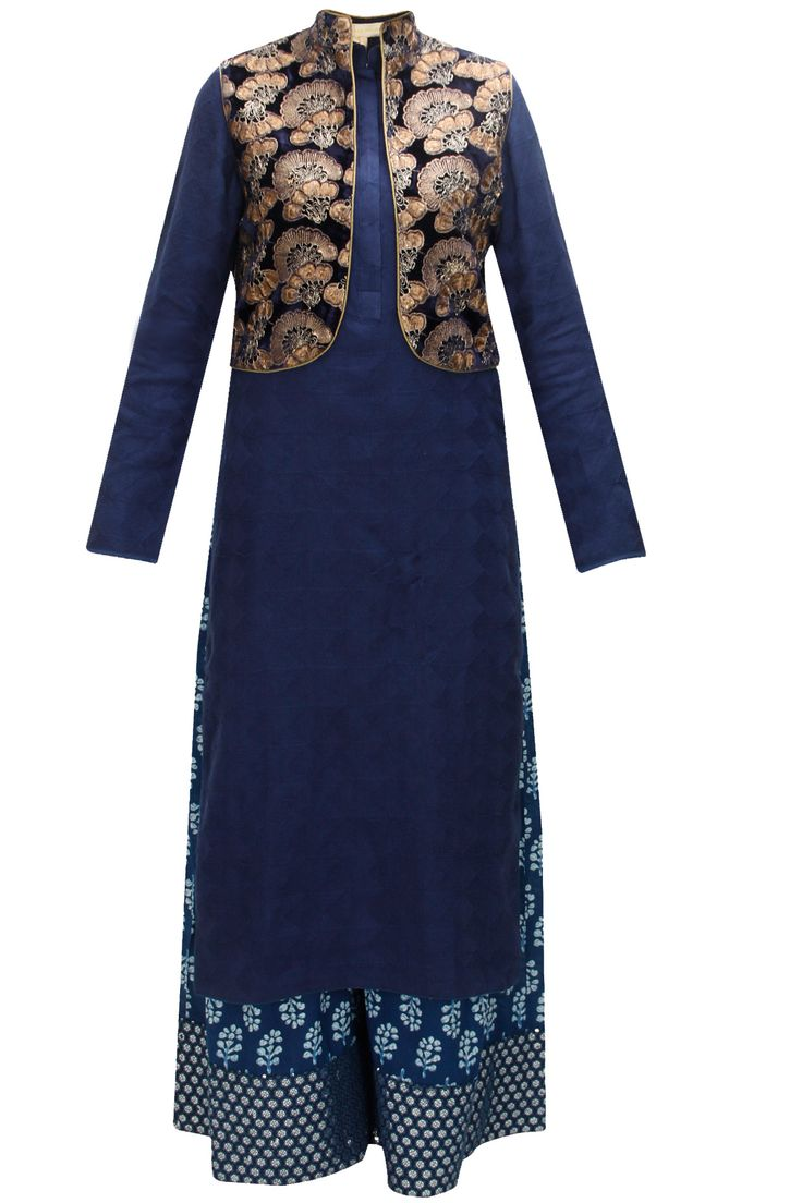 Navy blue phulkari kurta with floral printed pants and navy blue embroidered jacket by Vikram Phadnis. Shop now: www.perniaspopups.... #vikramphadnis #kurtaset #ethnic #perniaspopupshop #shopnow #happyshopping