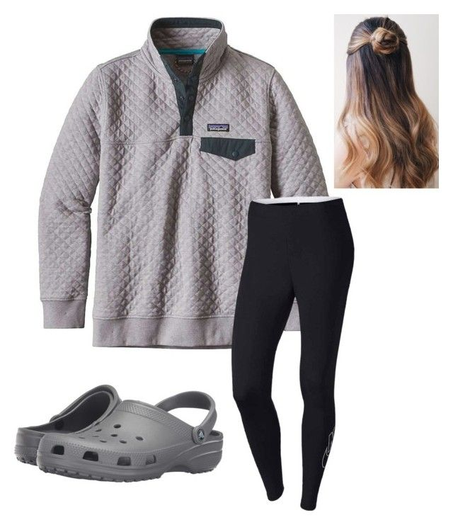 """Simple RTD"" by aldowney3 ❤ liked on Polyvore featuring Patagonia, NIKE and Crocs"