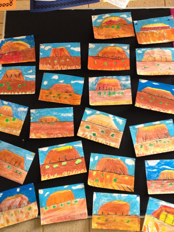 Uluru Ayers Rock Classroom Student Art Idea