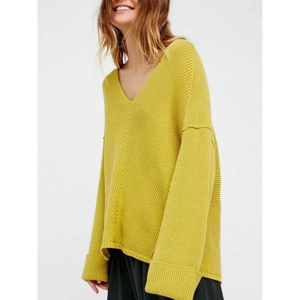 Choies Yellow V-neck Long Sleeve Turn Up Cuff Knit Sweater (38 CAD) ❤ liked on Polyvore featuring tops, sweaters, yellow, v neck knit sweater, long sleeve tops, yellow top, yellow long sleeve top and yellow knit sweater