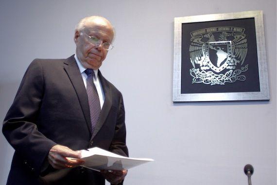 Jose Narro durante la conferencia que realizó para fijar su postura ante los hechos registrados en la UNAM. Foto: Cuartoscuro