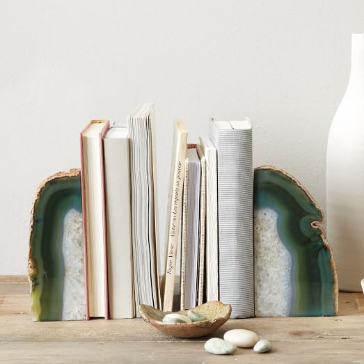 Keep your textbooks in one ( very pretty) place with these agate bookends from west elm.