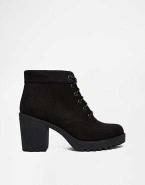 Shop Vagabond Grace Black Textile Ankle Boots at ASOS. Find this Pin and  more on Shoes! ...