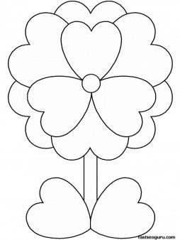 Print out Valentines Day Flower coloring pages for kids - Printable Coloring Pages For Kids