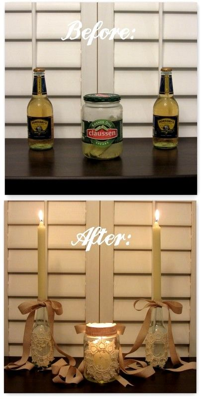 Linen, Lace,  Love: DIY: Beer Bottle Candle Stick Holders and Pickle Jar Votives