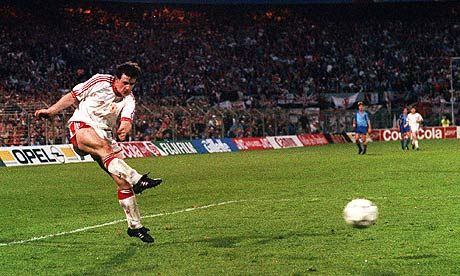 Mark Hughes scoring in the 1991 Cup Winners Cup final