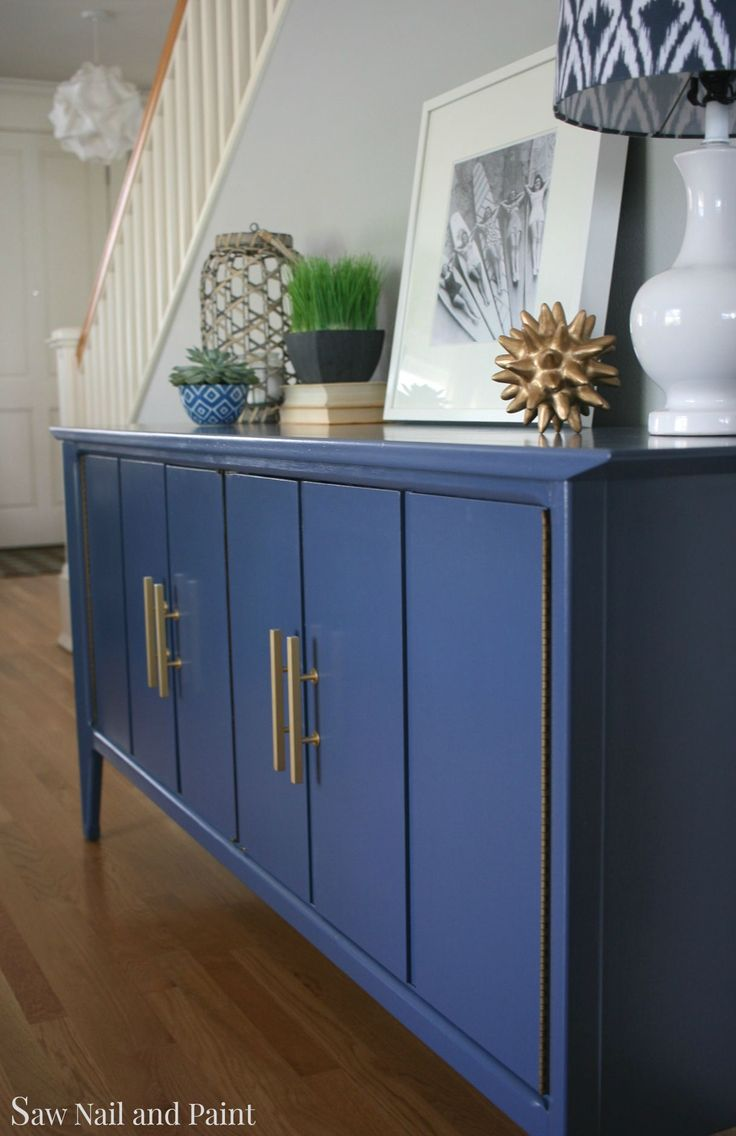 :: Havens South Designs :: craigslist 60's buffet painted in Ben Moore Advance paint semigloss in indigo blue. New brushed brass handles.