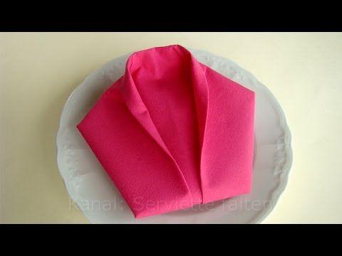 Servietten falten: Sakko - einfache Anleitung Servietten falten zur Hoch...