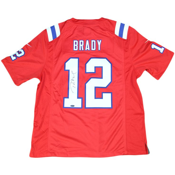 Tom Brady Signed Red Twill Throwback New England Patriots Jersey (Tri-Star Auth)