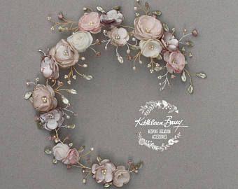 Guirnalda de cabello floral nupcial en taupe Rosa polvo blush champán tonos, accesorios para el cabello platino Champagne boda estilo: Jane